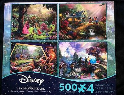 Disney Thomas Kinkade 4 In 1 Puzzle Multi Pack 500 Pc Snow White Cinderella More