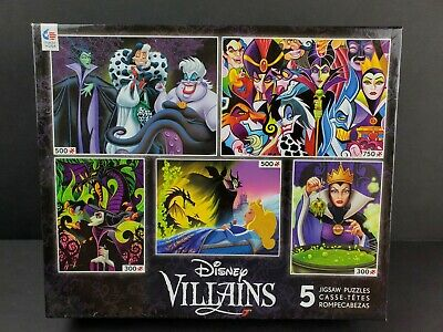 Disney Villains Jigsaw Puzzle 5 in 1 Ceaco USA Made 300/500/750 PCS Snow White