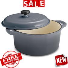 DUTCH OVEN CAST IRON Lid Enameled 6.5 Quart Cookware Pot Cooking Vintage Kitchen