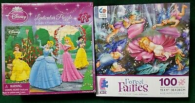 Forest Fairies 100 pc + Disney Princess Snow White Lenticular 48 pc puzzles New!