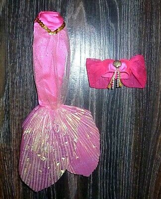 ✿ Fountain Mermaid Barbie 1993 Pink Top Tail Skirt Lot Clothes ✿