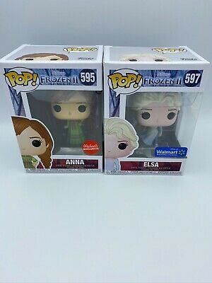 Funko Pop Frozen 2: Elsa 597 Walmart Exclusive and Michaels Exclusive Anna 595