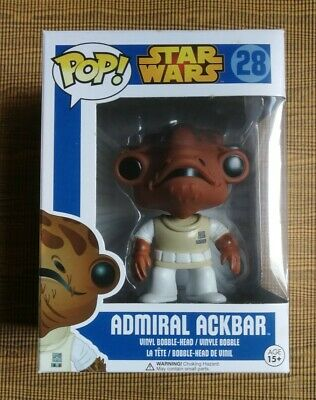 Funko Pop Star Wars Admiral Ackbar 28 Blue Box Rare Retired + pop protector WEAR