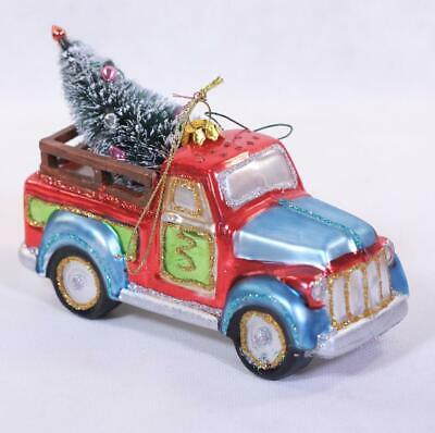 Glass Red/Blue Truck With Christmas Tree Ornament