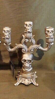 Halloween Skull Candelabra Candlestick Holder Nicole Miller Home Gold