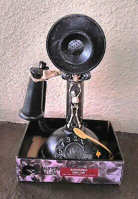 HAUNTED HOLLOW Halloween ANIMATED Rotary Candlestick TELEPHONE Talking Sound SFX