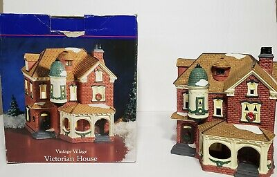 Holiday Time Victorian House Lighted Christmas Vintage Village Porcelain P6022