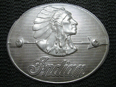 HUGE INDIAN MOTORCYCLE CHIEF BELT BUCKLE! VINTAGE! RARE! HANDMADE! USA! 1980s?