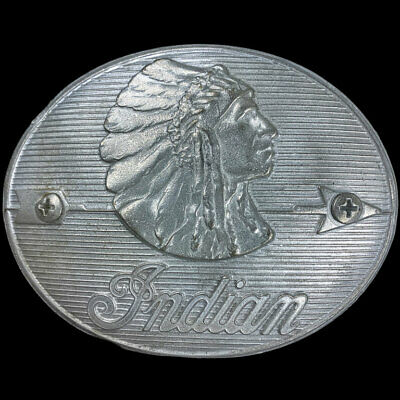 Indian Motorcycle Motocycle Scout Laughing Chief Biker Trophy VTG Belt Buckle