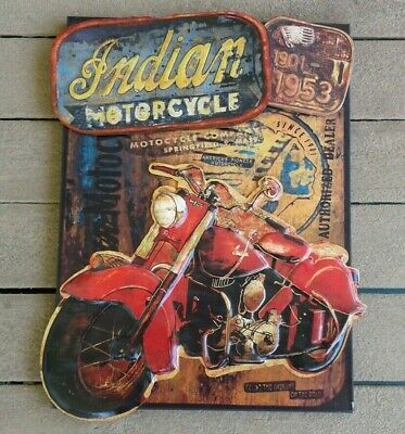 "Indian Motorcycle Tin Metal Sign 3-D Raised Embossed Vintage Patina 26""X20"" NEW"