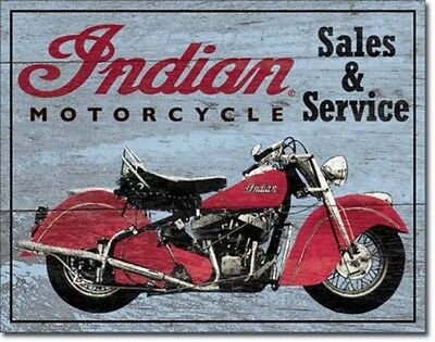 Indian Motorcycles Sales Service Metal Sign Tin New Vintage Style USA #1931