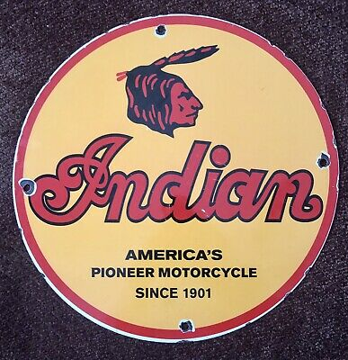 INDIAN MOTORCYCLES VINTAGE GAS & OIL PORCELAIN 12'' ROUND SIGN