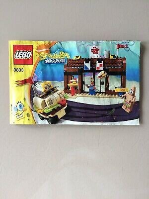 LEGO Spongebob - INSTRUCTION MANUALS ONLY - 3833 Krusty Krab Adventures See Pics