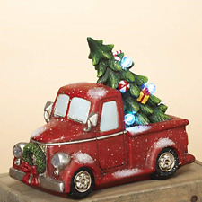 Lighted Red Vintage Holiday Vehicle with Christmas Tree - Tabletop Holiday Truck