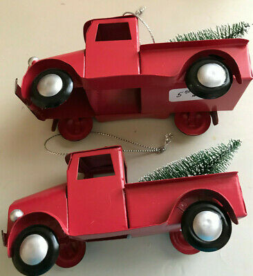 METAL RED TRUCK CHRISTMAS ORNAMENT WITH CHRISTMAS TREE X 2