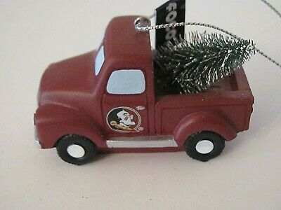 NEW FLORIDA STATE SEMINOLES RESIN TRUCK WITH CHRISTMAS TREE ORNAMENT