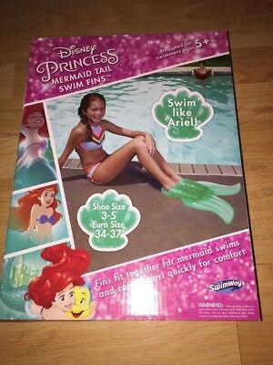 NEW Little Mermaid Disney Princess Ariel Mermaid Tail Girls Swim Fins Size 3 - 5