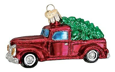 Old World Christmas Old Red Pickup Truck with Tree Holiday Ornament Glass