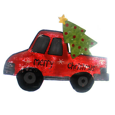 Peri Woltjer RED TRUCK WITH TREE Metal Led Lights Christmas 2020160021