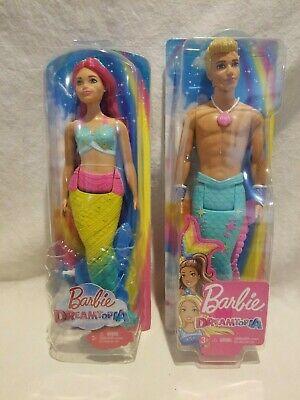 Rainbow cove hot pink hair mermaid Barbie & Merman Ken Doll With Tail 2018 NIP