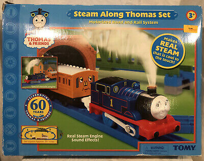 RARE Steam Along Thomas Train Set Tomy 2005 Real Steam&Sounds CIB W/Instructions