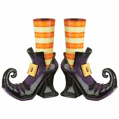 """Raz Imports Halloween Party 10"""" Witch Shoes Taper Candle Holder Set of 2"""