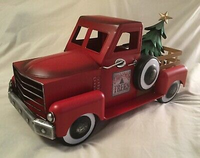 Red Metal Truck with Christmas Tree ZAER LTD INTERNATIONAL (removable tree)
