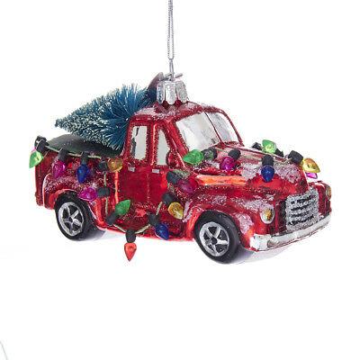 Red Pickup Truck Car with Tree Glass Ornament Kurt Adler Christmas