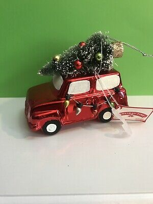 Red SUV truck with tree Christmas gift Holiday Time Ornament Country Time