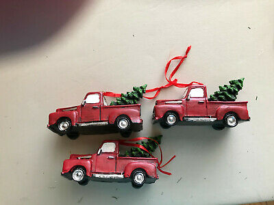 RED TRUCK CHRISTMAS ORNAMENT OF RESIN TYPE MATERIAL WITH CHRISTMAS TREE X3