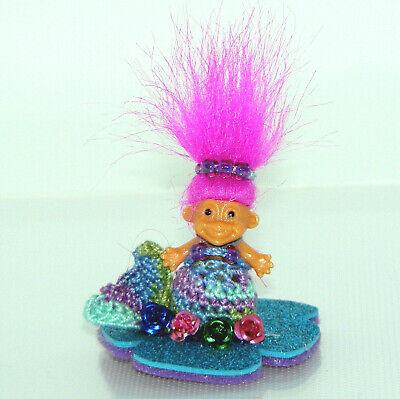 "Russ 1"" Mermaid Troll Doll, Handmade, Varigated Crochet Tail and Top, Faux Hair"