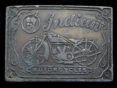 SA07150 VINTAGE 1970s **INDIAN MOTORCYCLES** ADVERTISEMENT BELT BUCKLE