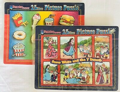 set of 2 25 pcs JIGSAW PICTURE PUZZLE SOFT FUZZY FOAM PIECES AGES 3+ SNOW WHITE