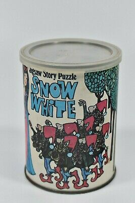 Snow White Jigsaw Story Puzzle 1969 American Publishing Corp Complete Tin Can