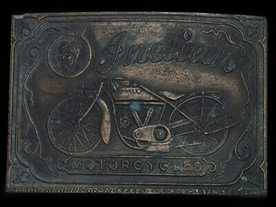 TA01168 VINTAGE 1970s **INDIAN MOTORCYCLES** ADVERTISEMENT BELT BUCKLE