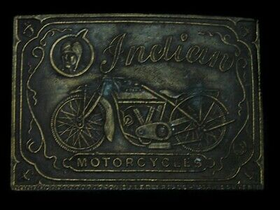 TB01132 VINTAGE 1970s **INDIAN MOTORCYCLES** ADVERTISEMENT BELT BUCKLE