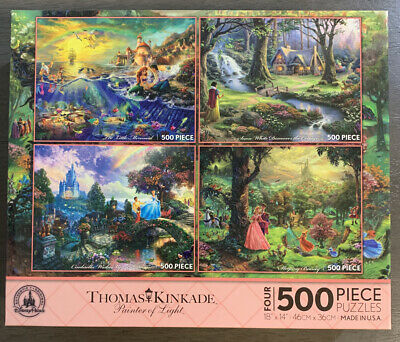 Thomas Kinkade Disney Parks Puzzle 4 in 1 Mermaid, Snow White, Cinderella... New