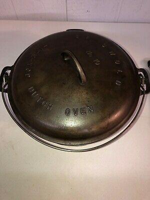 Vintage 1920 Large Griswold No. 10 Tite-Top Iron Dutch Oven 2553 Kid No. 10