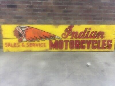 Vintage 1950's INDIAN MOTORCYCLES Sales & Service Wooden Store Dealership Sign