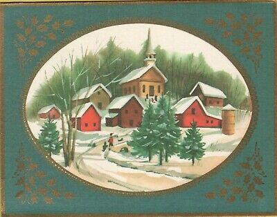 Vintage 1960s Christmas Card Snow Village Church Winter Green Tree Ephemera USED