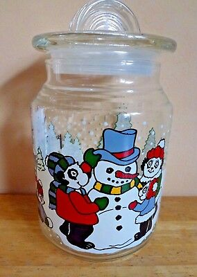 Vintage 1993 Christmas Tree Winter Clear Glass Canister Candy Cookie Jar 7""