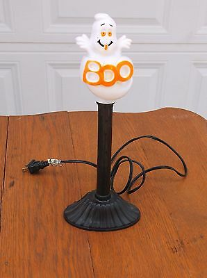 Vintage Blow Mold Ghost Boo Electric Light Up Candlestick Halloween