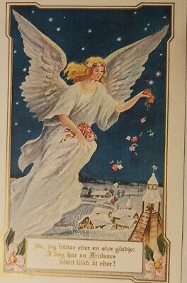 Vintage c1909 Postcard -Beautiful Angel Dropping Flowers Over Village- Sweedish