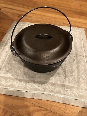Vintage Cast Iron Dutch Oven With Lid And Handle 6.6 Qts #9 USA Marked