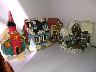 Vintage Christmas Ceramic Holiday Winter Village lot of 4 Nice Display !