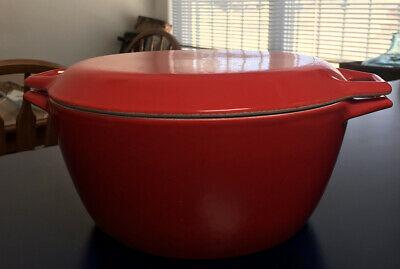 """Vintage Copco D3 Denmark Dutch Oven Pot RED Enamel Cast Iron 10"""""""