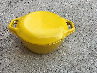 Vintage Copco Denmark D2 Cast Iron Yellow Enamel Lidded Dutch Oven