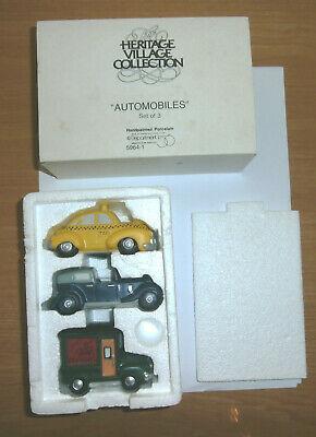 Vintage Dept 56 Christmas Heritage Village AUTOMOBILES Set of 3 MINT in Box