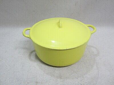 Vintage Descoware 5 Qt. Cast Iron Enamel Dutch Oven Pot Yellow Belgium FE 12 2F