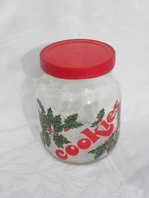 "Vintage ½ Gallon Christmas Holly and Berry ""Cookies"" Glass Jar or Canister"
